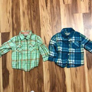 2 Cherokee baby boy dress shirt button up 12M